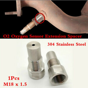 SS304 O2 Oxygen Sensor Downpipe Extension Spacer Remove Fault Code For M18 x1.5