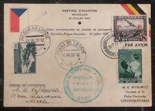 1936 Bruxelles Belgium Airmail Postcard Cover To Prague Czechoslovakia Aviation