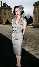 Christian Dior Gray Silk Blend Beaded Crystal Pearl Dress