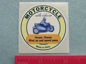 Business STICKER Label ~ MOTORCYCLE With Sidecar ~ Vroom. Wind Up & Speed Away!