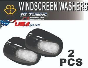 2pcs Universal White LED Light Windshield Washer Wiper Jet Water Spray Nozzle