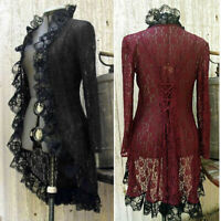 Medieval Victorian Steampunk Women Stand Collar Coat Lace Cardigan Retro Jacket