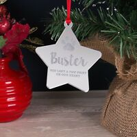 Personalised Christmas Tree Decoration, Dog, Cat Pet Memorial Star Bauble Gift