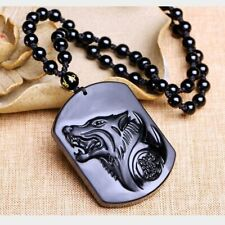 Black Handwork Chinese Carved Natural Obsidian Wolf Head Pendant W/Bead Necklace