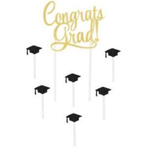 """Congrats Grad! Cake Topper Set 5"""" x 8.5"""" Paper Graduation Party Decorations"""