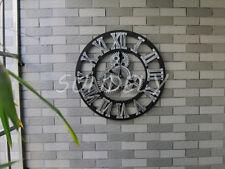 black 50cm Large Gear Wall Clock Vintage Rustic Wooden luxury art vintage
