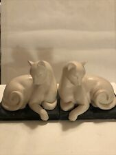 Vintage White Cats Figurine Special Gifts By Crowning Touch Heavy Great Book End