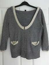 WOMENS, WITCHERY COTTON/WOOL HOODED CARDIGAN, BLUE/CREAM STRIPES, SIZE S #1239