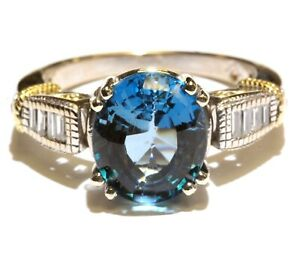 18k white yellow gold .30ct VS1 G diamond blue topaz womens ring 6.5g ladies