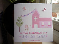Handmade Personalised Christening Card Girl Boy Niece Nephew Goddaughter Godson