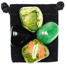HEALING DIS-EASE Tumbled Crystal Healing Set = 4 Stones + Pouch + Description