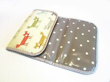 Handmade baby boy travel changing mat - foxes & polka dots on grey oilcloth