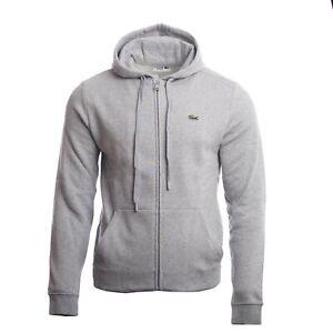 Lacoste Men's Classic Grey Overwear Full Zip Hoodie Drawstring Logo Branded