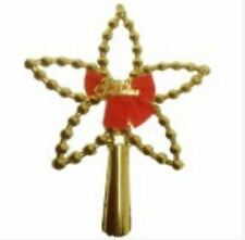 Shiny Christmas Tree Topper with Beads and Ribbon Large Gold