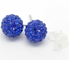 Blue Rhinestone Pave Earrings with Rubber Studs Jewelry Christmas Gift Discount