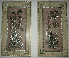 Vintage 1950's Four Seasons Metalcraft 3D Pictures Winter and Spring Wall Art