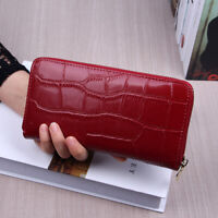 Women's Genuine Leather Long Zip Wallet Large Capaity Clutch Card/Phone Holder