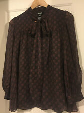DKNY beautiful brown bow collar blouse 100% silk,new SIZE uk 6 us2