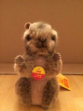 """Vintage Steiff Piff Woodchuck 4"""" 1476/12 All Tags New 1986-89"""