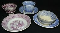 England 3 Handleless Cups & 3 Saucers Blue & Mulberry -1800's -Some Damage