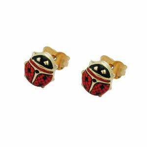 Plug 7x7mm Ladybug Red-Black Enamelled 9Kt Gold