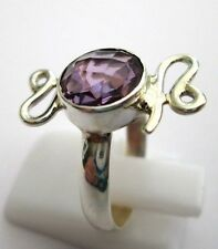 925 Silver Amethyst Ring Fully Faceted Very Dainty Size L 1/2, US 6 (rg1986)