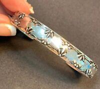 Vintage Avon Shiny Silver Cuff Bracelet Patterned Pretty