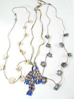 AEO American Eagle Outfitters Crochet Flower Necklace Blue Bead Necklace SET 3 N