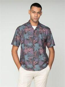 Ben Sherman Tropical Hawaiian Paisley Short Sleeve Mens Shirt, Black