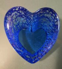 Fire and Light Recycled Glass SIGNED small Rough heart paperweight cobalt blue