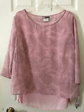 C M Shapes Women's Pink Sheer Blouse Top Built In Multi Panel Woman Plus Size 1X