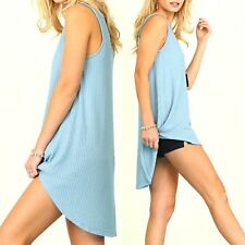 Umgee Top Size XL S M L Solid Blue Bamboo Sleeveless Tunic Womens Boutique New