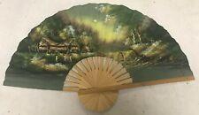 Lrg Vtg Chinese Asian Fan Wall Décor Hand Painted Asian Villages