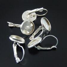 24PCS Silver Tone Iron Beauty Round  Earring Hooks Inner size 12mm Decor 37954