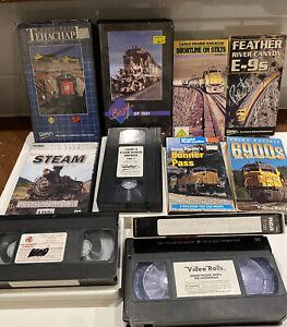 Lot of 11 Railroad Train VHS (10) & Steam 4 PK DVD Video Movies inc Donnner Pass