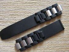 20mm Black Rubber Strap Silver Links For Cartier Must 21 Autoscaph Chronoscaph