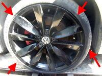 "2015 VW Scirocco R Line Genuine 19"" Lugano GLOSS BLACK alloy wheels Original"