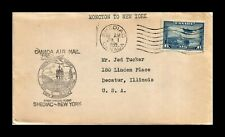 DR JIM STAMPS SHEDIAC NEW YORK AIRMAIL FIRST FLIGHT CANADA COVER
