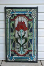 """20.5/"""" x 34/"""" Lg Home Decor Handcrafted stained glass window panel Big Rose flower"""