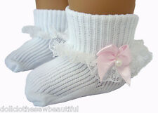 Pale Pink Bows & Pearls Lace Trim Socks for American Girl Doll Clothes