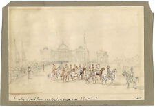 """1st ANGLO-SIKH WAR VICTORY CEREMONY & ORIGINAL ca 1846 DRAWING SIGNED """"W.T."""""""