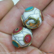 BD-109 Handmade Tibetan Brass Turquoise Coral Conch Shell Round Beads From Nepal