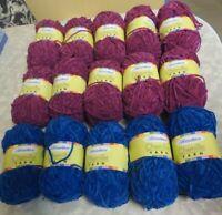 15 New Skeins Of Herrschners Chenille Yarn 10 Burgundy & 5 Blue