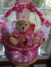 Pink Diaper Cake Gift Basket - Made to order by Norma's Unique Gift Baskets