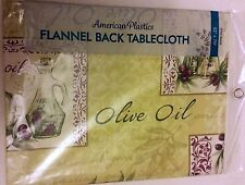 """FLANNEL BACK VINYL TABLECLOTH 52"""" x 70"""" Oblong, (4-6 ppl), OLIVE OIL by AP"""