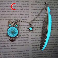 1X Luminous Night Owl Bookmark Label Read Maker Feather Book Mark StationeryHC
