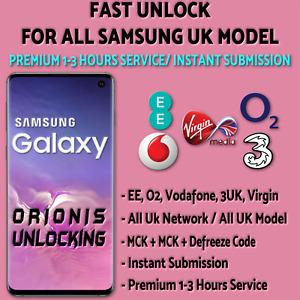 SAMSUNG UNLOCK CODE S10 S10 PLUS S9 S8 S7 S6 Edge Note 10 - EE, O2, Vodafone UK