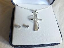 Stunning NIB Sterling Silver Rhinestone Cross Necklace Post  Earrings WOW