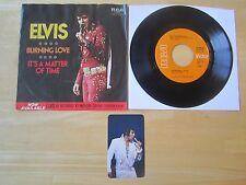 1972 Elvis 45rpm Record:  Burning Love/It's A Matter of Time, & Pocket Calendar