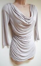 Womens Blouse Top Size XS S M L New Ladies Pearl Beige Shimmer Gathered Cowl Nck